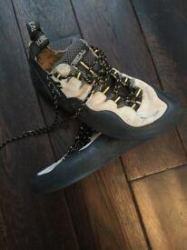 Boreal rock climbing shoes.
