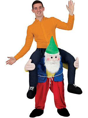 Carry Me Piggy Back Gnome Funny Adults Mascot Fancy Dress Up Party Dwarf Costume - Dwarf Costume Adults