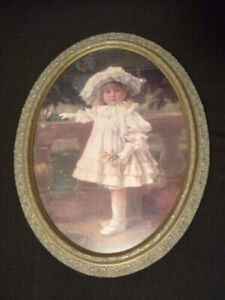 Little girl with posies - wall hanging