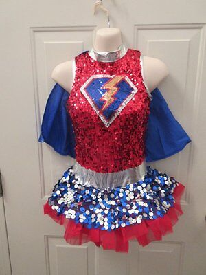 Superhero Dance Costumes (Red Blue Silver Superhero Dance Costume Large Child LC 12)