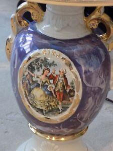 1940's Vintage Porcelain Purple Marble 'Courting Couple' Vase