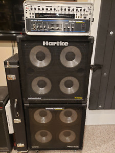 Full Hartke Systems Bass Amp Stack with 2 cabs & compressor