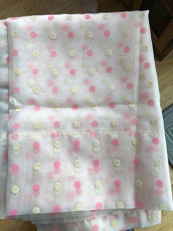 Vtg Pink/Ivory Swiss Dot Sheer Window Curtain Panels