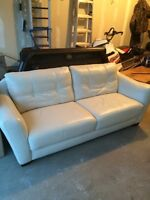 Genuine White Leather Couch