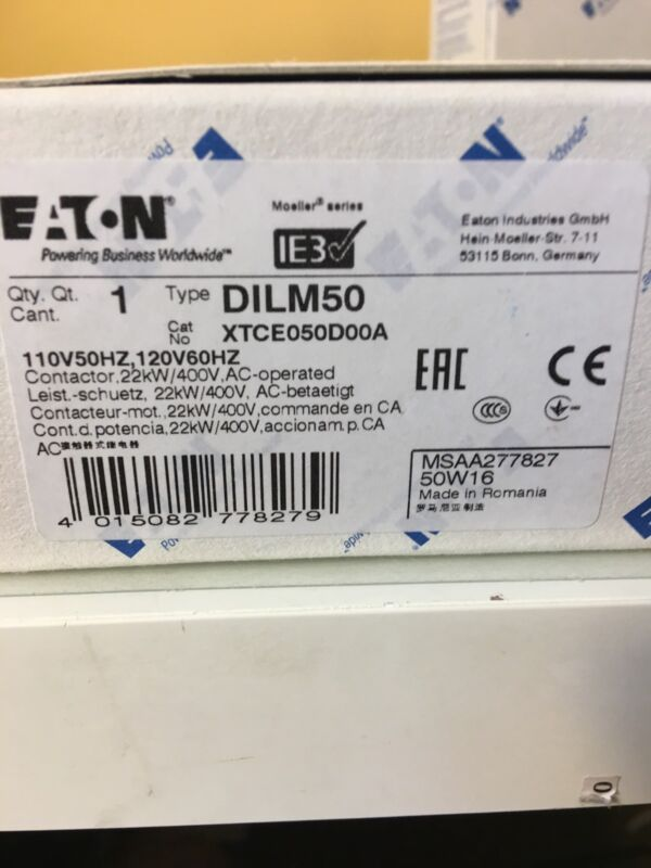 XTCE050D00A  110-120V   CUTLER HAMMER  / EATON  CONTACTOR