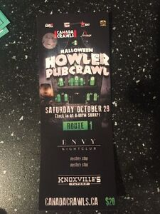 Two tickets Halloween howler pub crawl