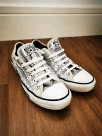 Converse sequin trainers UK8