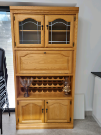 Solid oak drinks cabinet with wine rack