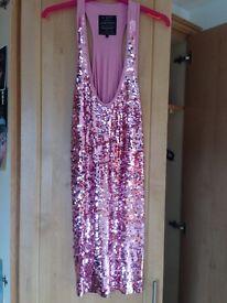 River island pink sequin dress