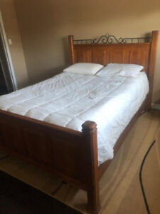 Wood Queen Size bed with mattress and box spring