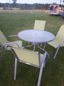 PATIO TABLE CHAIRS AND UMBRELLA