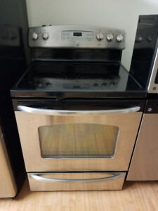 Ge stainless steel glass ceramic top stove range self clean oven