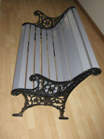 CAST IRON & WOOD PARK BENCH   ( smaller 2 person size )