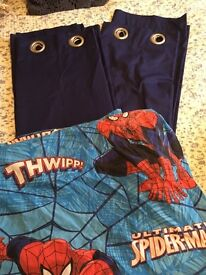 Spider-Man single bedcover and navy curtains