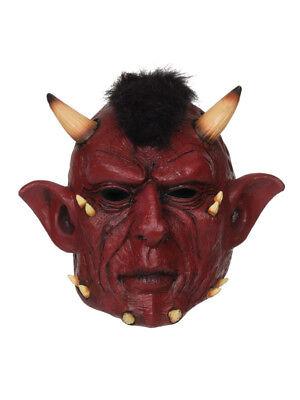 Mens Ladies Devil Horn Scary Evil Horror Face Halloween Demon Fancy Dress Mask  ()