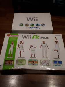 Wii console and Wii fit Plus Board