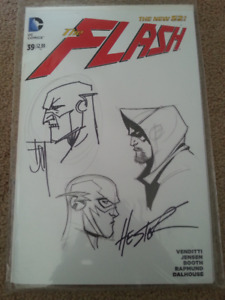 The Flash Blank variant cover with 2 artists drawing on it Great