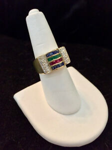 14k Diamond, Sapphire, Ruby & Emerald Ring - Appraised at $1275