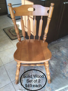 Solid wood chairs, bar stool, patio chairs etc