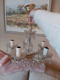 Vintage Glass 4 arm chandeliers