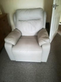 Full leather dove grey reclining suite