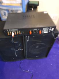 Speakers/amp/mixer bundle