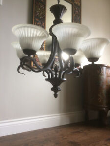 Chandelier ornamental, solid heavy, metal with six lights