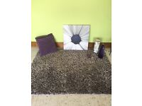 Purple and grey rug? Canvas, cushions , lamp, vase