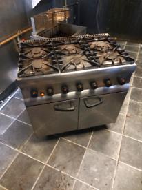 Lincat 6 burner cooker with oven natural gas