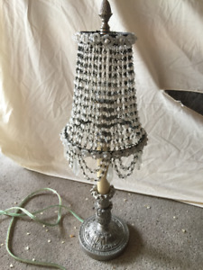 Ornate Silver Lamp with Beaded Lampshade