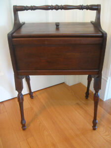 CHARMING OLD VINTAGE SOLID WOOD DOUBLE-DOORED SEWING CABINET