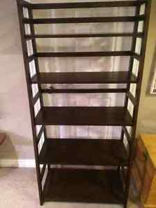 Dark brown ladder book shelf