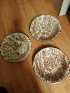 "Vintage brown and white 9 1/2"" enamelware bowls set of 3"