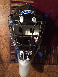 TPS goalie helmet with silver cage