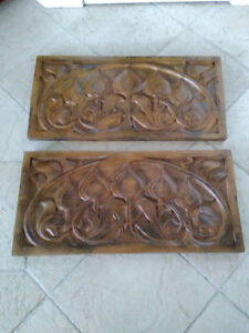 Pair of Carved Wood Plaques