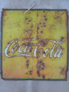 """early Coca Cola """" Refresh Yourself """"  metal sign"""