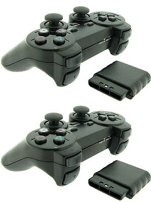 2x For Sony PS2 2.4G Wireless Twin Shock Game Controller Joystick Joypad