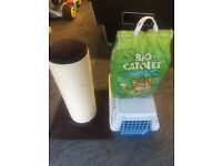 Cat scratch post, carrier and litter tray filler