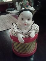 HARLEQUIN MUSICAL PORCELAIN HANDPAINTED CLOWN-   VINTAGE