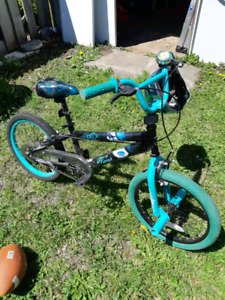 Girls Avigo vampire bike with teal chrome helmet