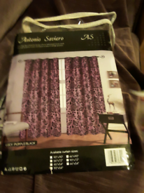 Nice light purple curtains with floral designs