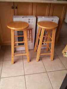 Set of 2 wooden brch coloured bar stools - Brand new in box