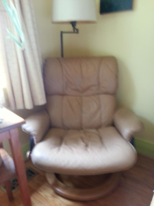 FREE Leather arm chair and ottoman