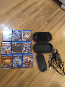 Playstation Vita with 10 Games and Hard Case