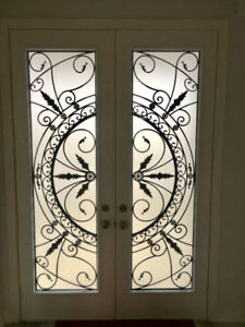 Wrought Iron and Stained Glass Door Inserts Sale save$100