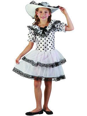 Child Girls Southern Belle Victorian White Black Polka Dot Fancy Dress Costume