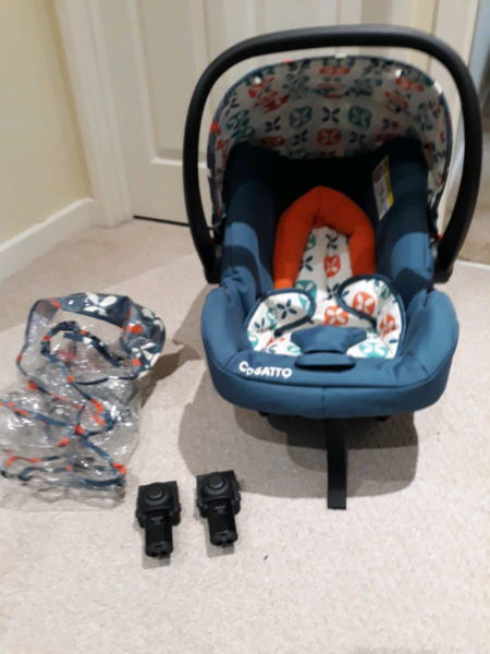 COSATTO GIGGLE TOODLE PIP CAR SEAT WITH RAINCOVER AND ADPATER for sale  Fordingbridge, Hampshire