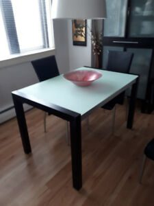 Mobler Glass and Wood Extendable Dining Room Table