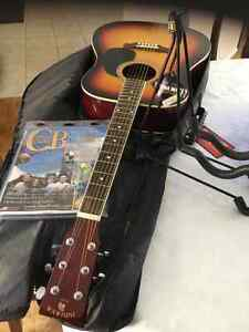 INDIANA ACOUSTIC GUITAR, CHORD Buddy Learn System, Case & Stand