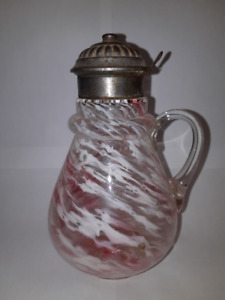 ANTIQUE ART GLASS SYRUP DECANTER